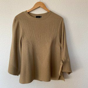Cliche' sz S Ribbed 3/4 Sleeve Ribbed Sweater Bow